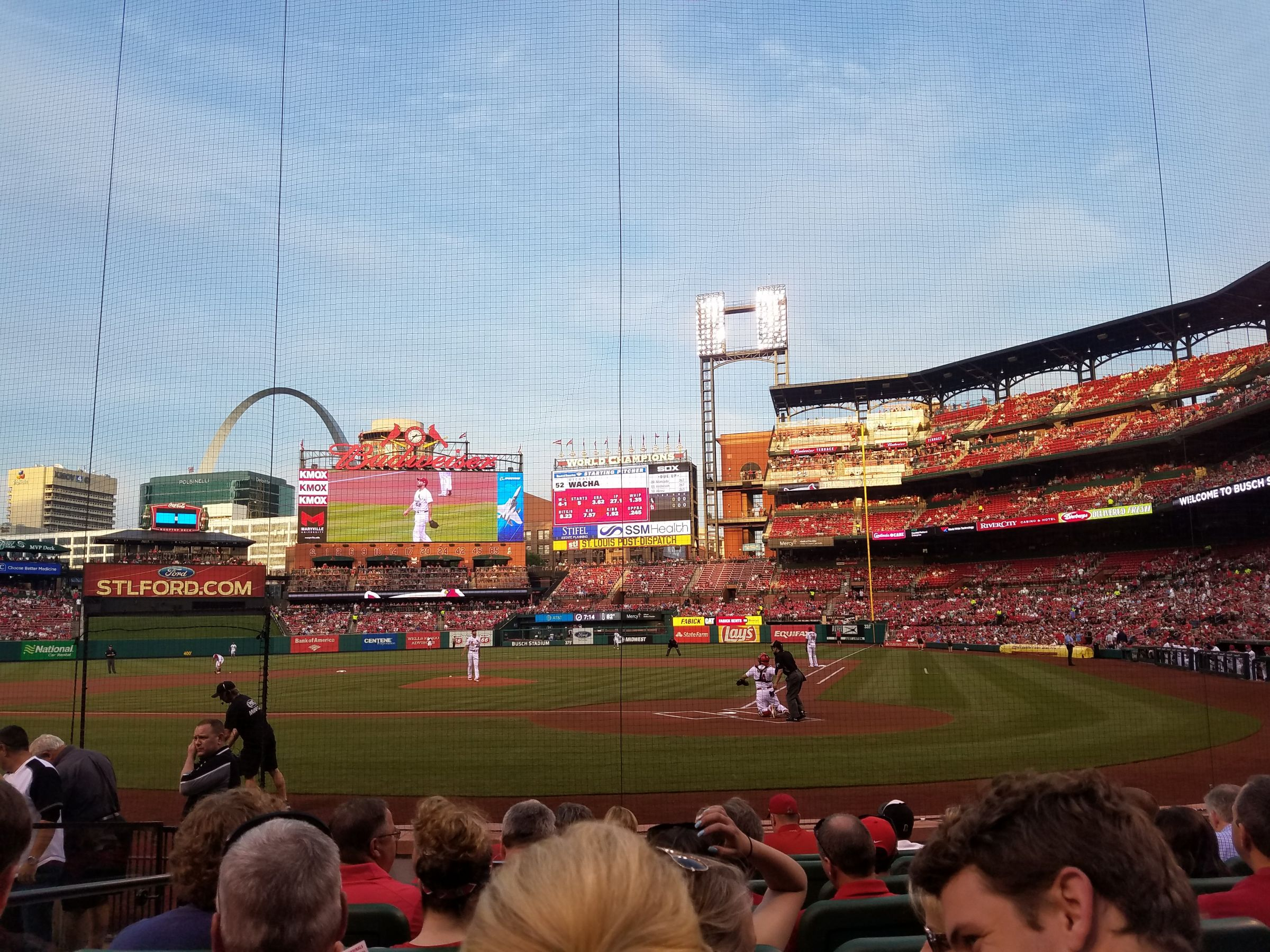 Seat View for Busch Stadium Cardinals Club 6, Row H, Seat 6