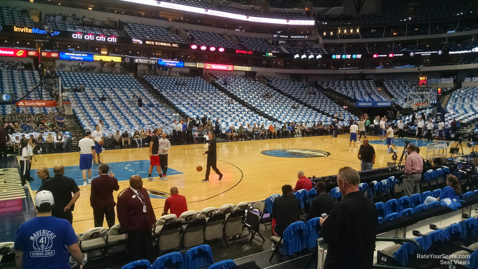 Dallas Mavericks Seat View for American Airlines Center Section 120, Row E