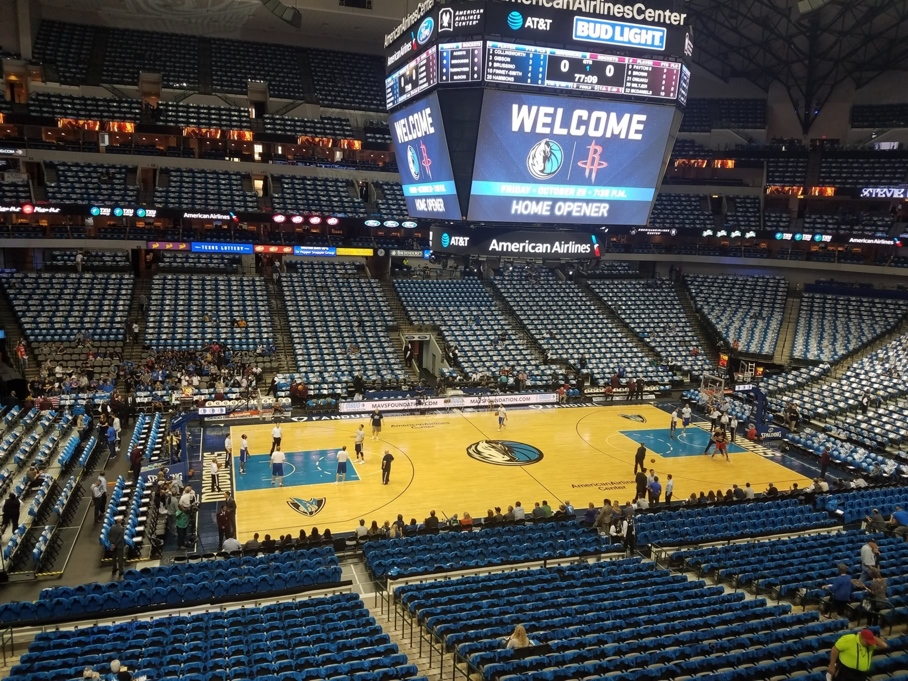 Dallas Mavericks Seat View for American Airlines Center Section 211, Row A