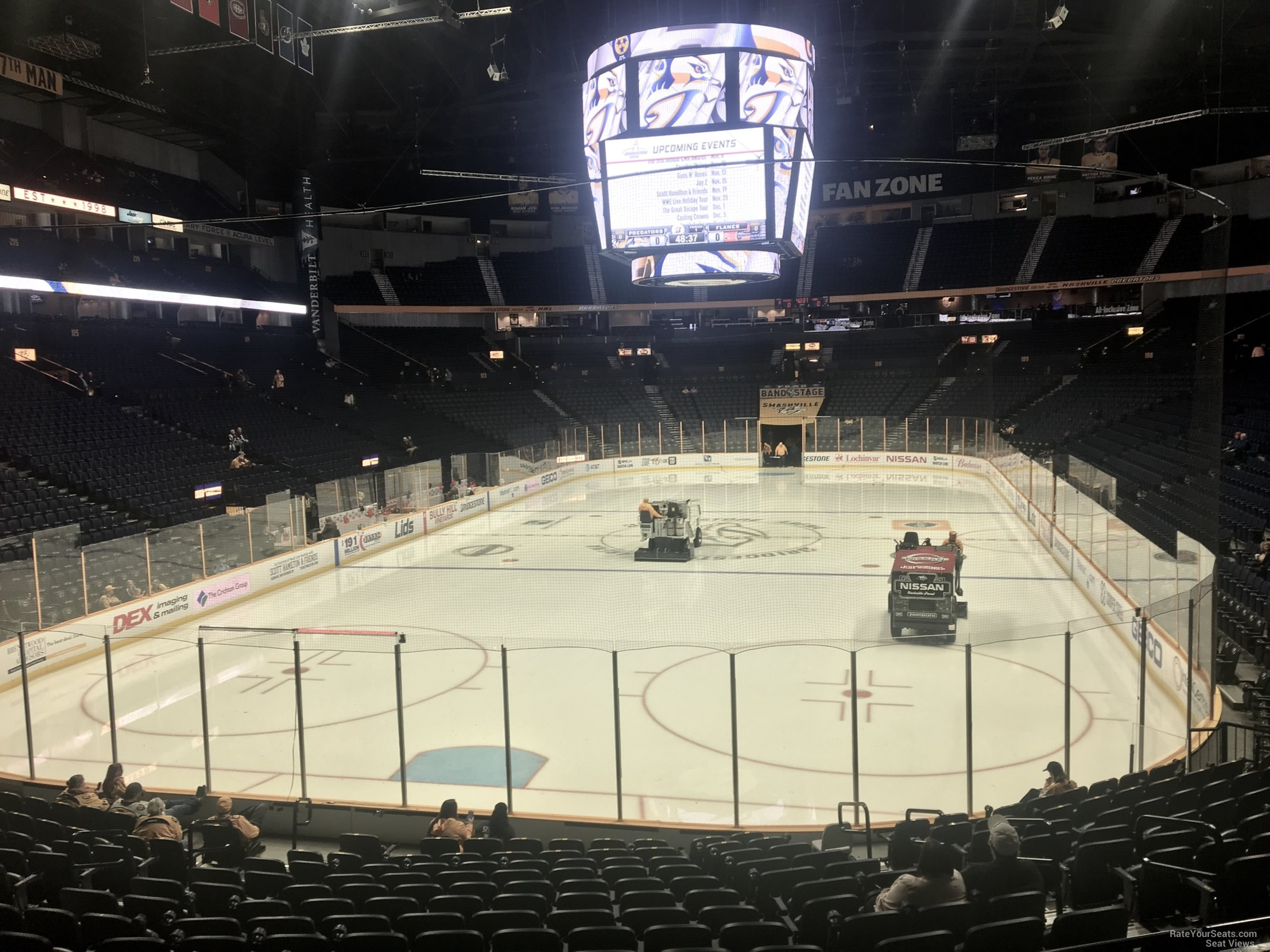 Nashville Predators Seat View for Bridgestone Arena Section 101, Row F