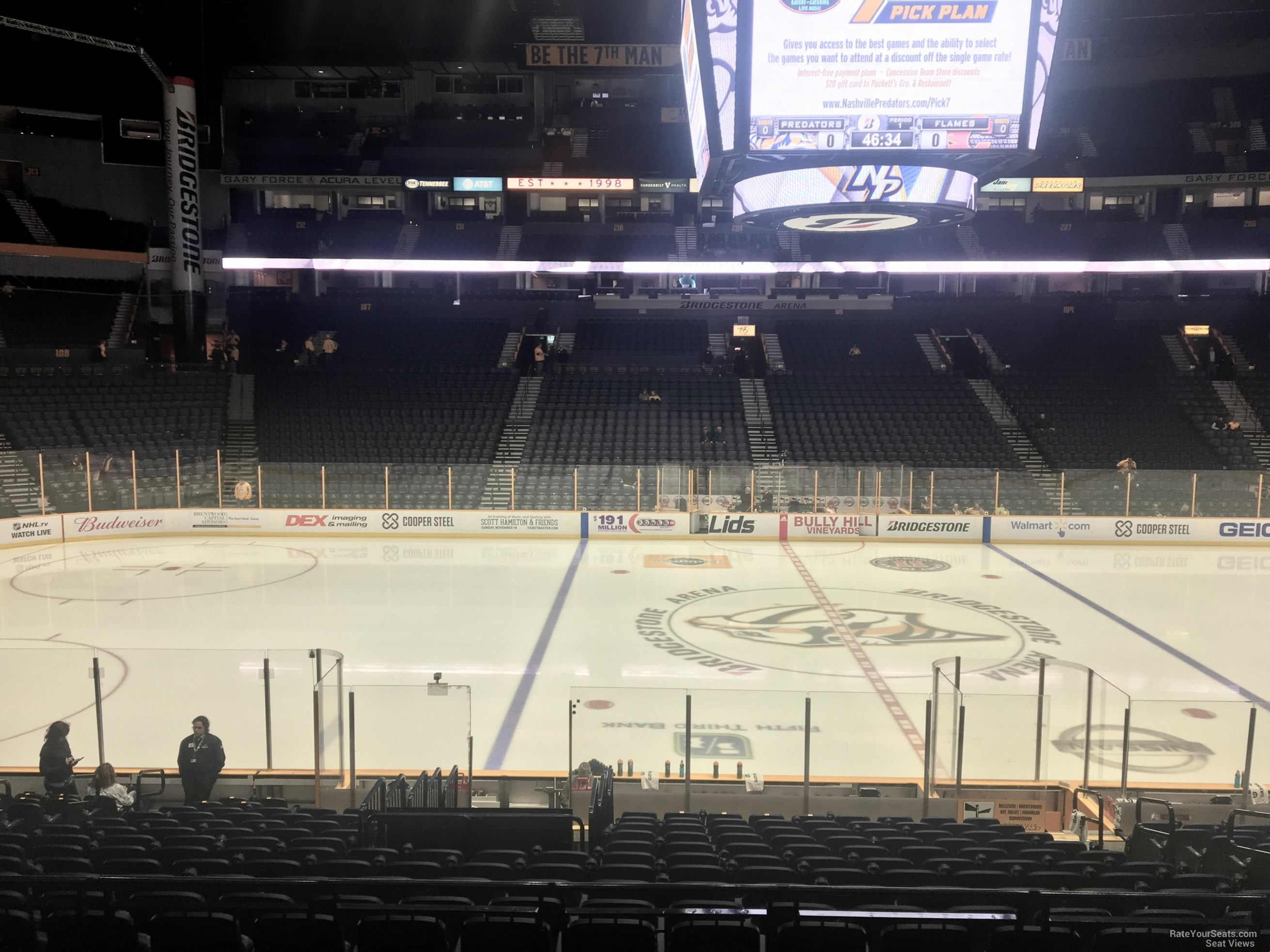 Nashville Predators Seat View for Bridgestone Arena Section 115, Row F