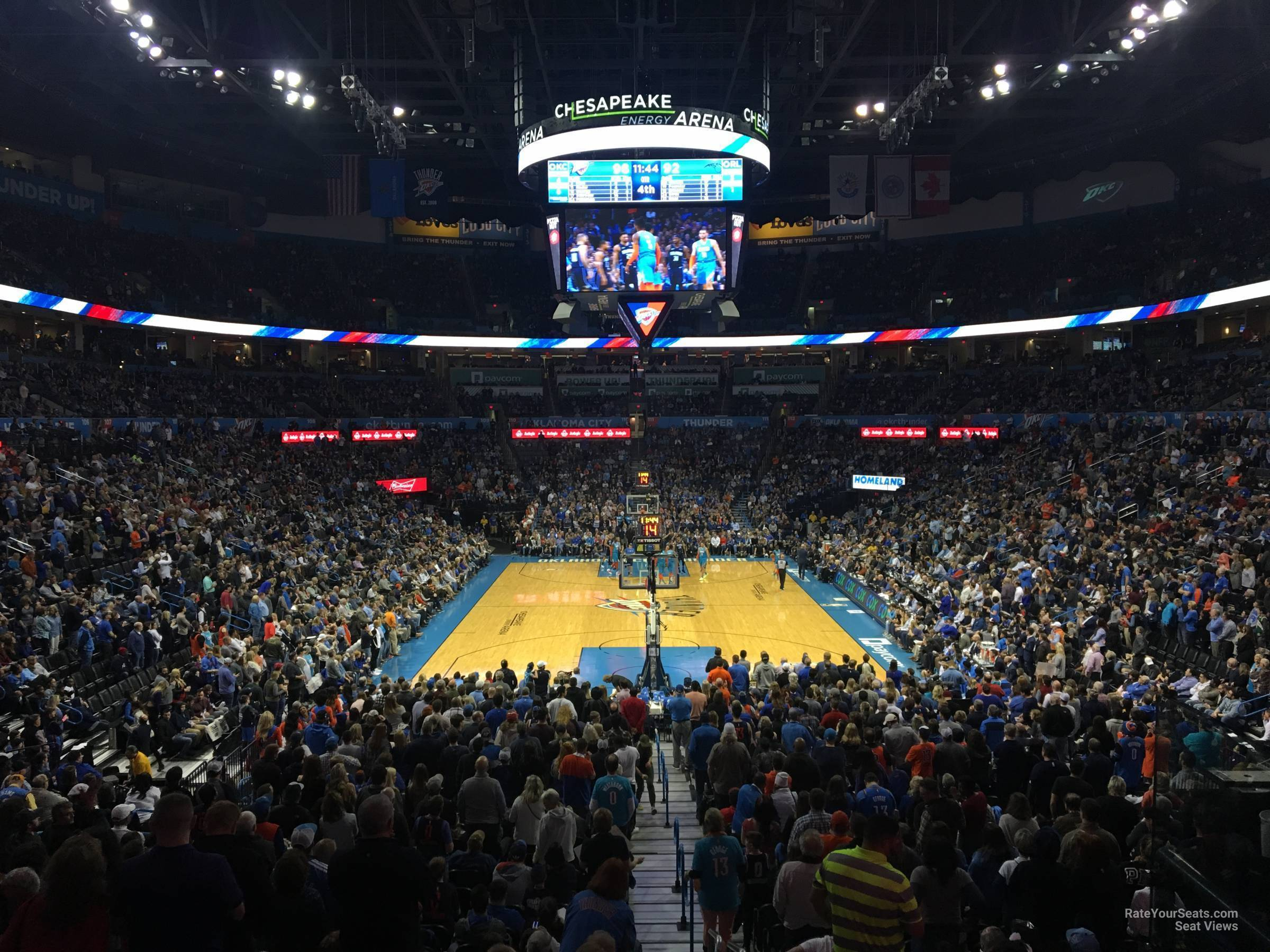Seat View for Chesapeake Energy Arena Section 101, Row U