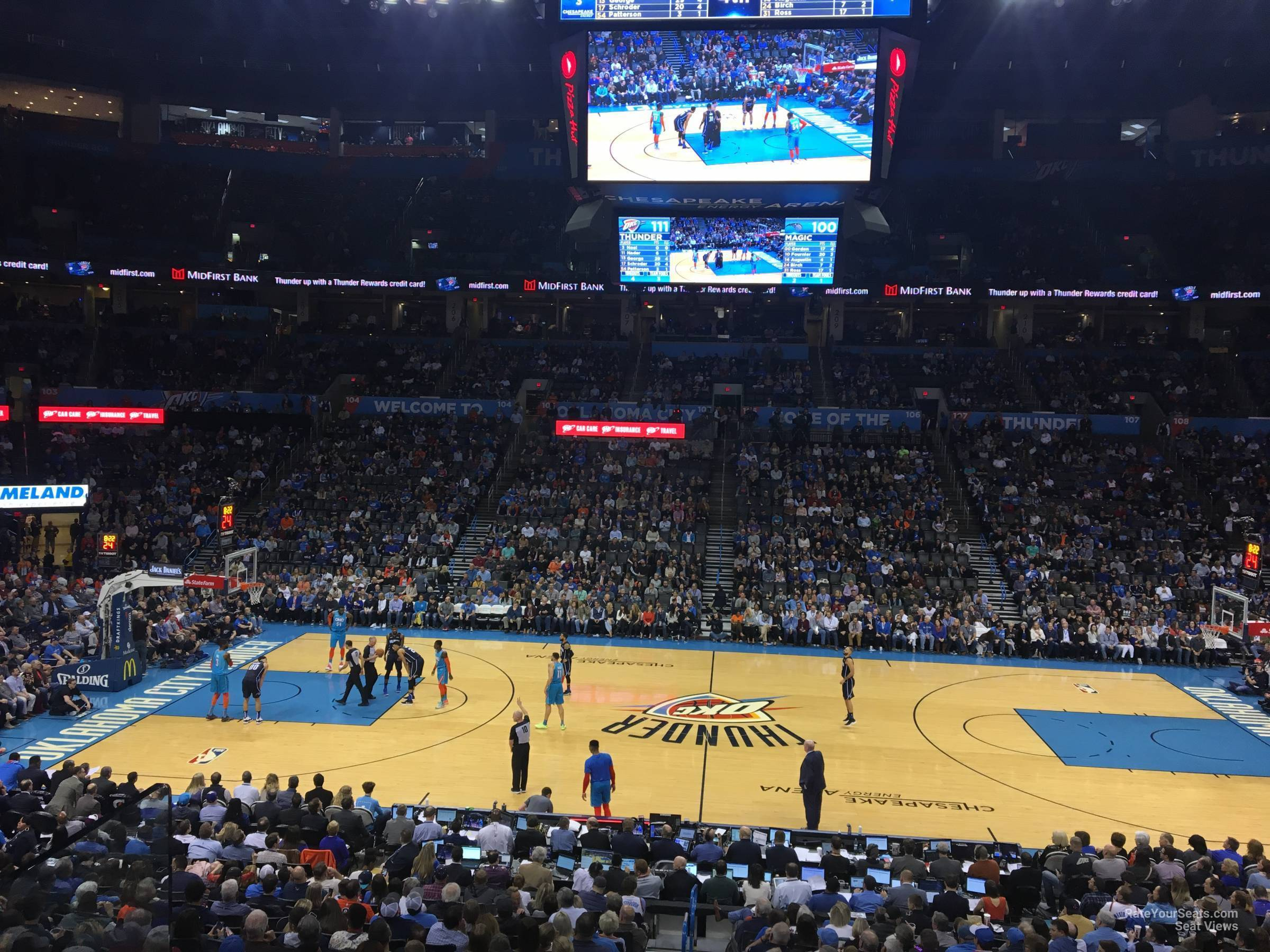 Seat View for Chesapeake Energy Arena Section 115, Row U