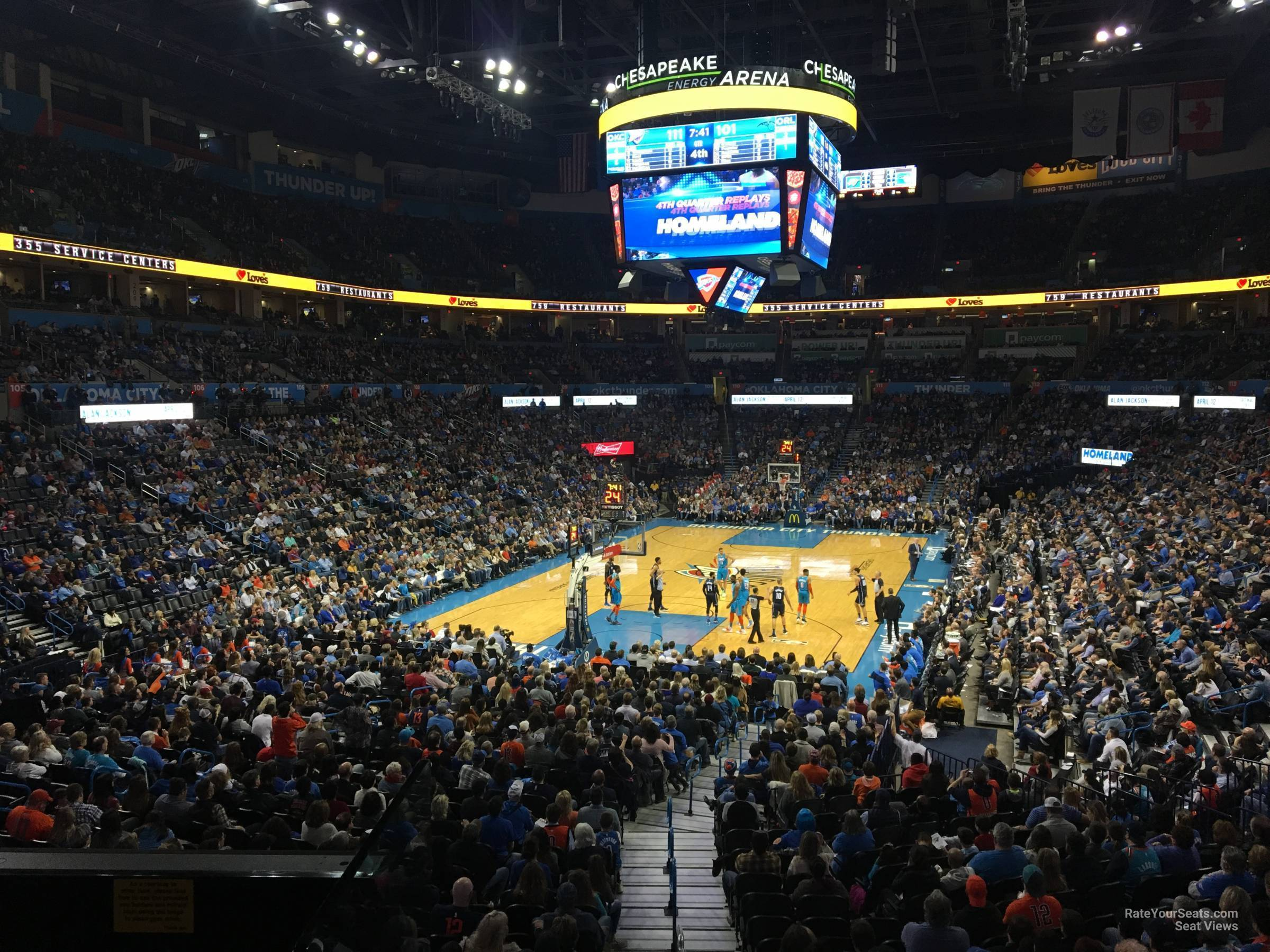 Seat View for Chesapeake Energy Arena Section 119, Row U
