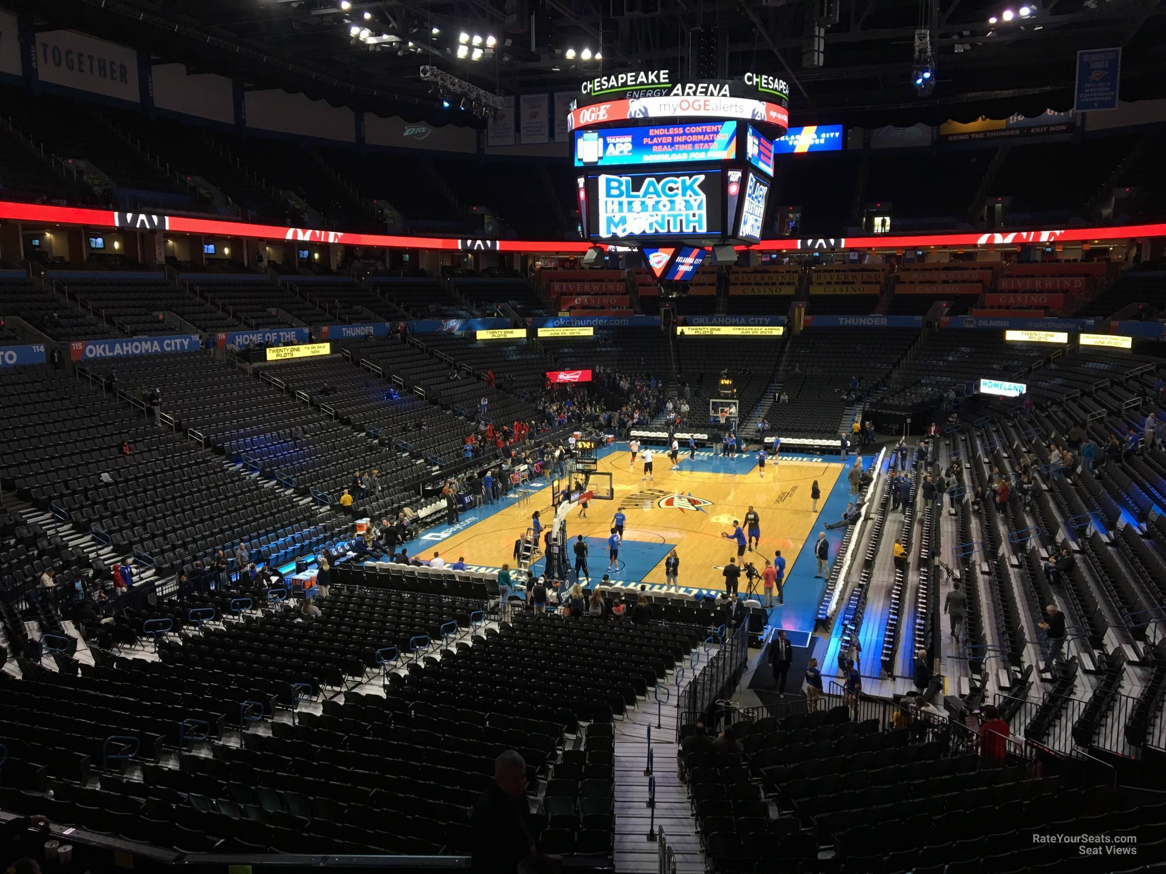 Seat View for Chesapeake Energy Arena Section 214, Row A