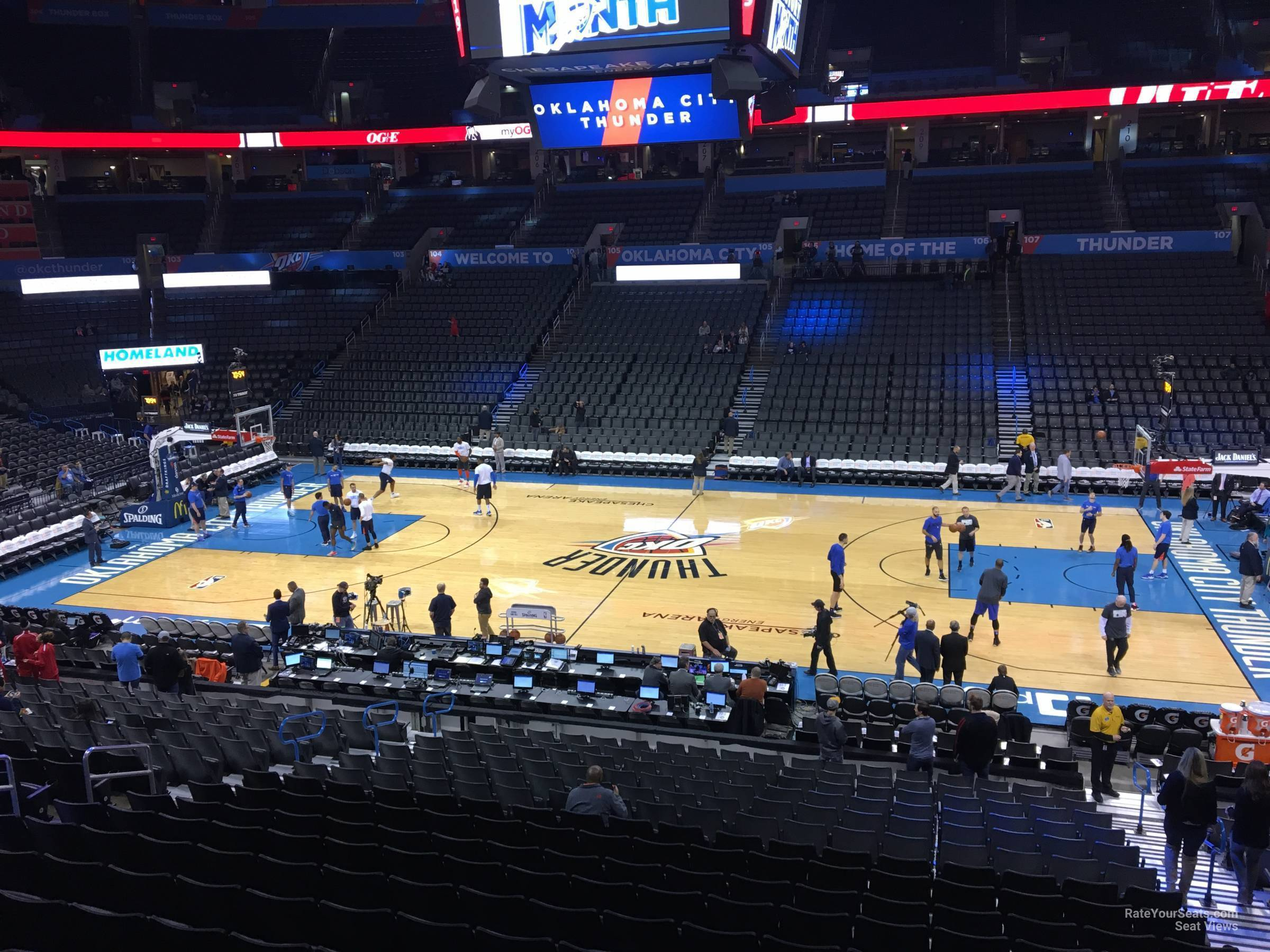 Seat View for Chesapeake Energy Arena Section 222, Row A