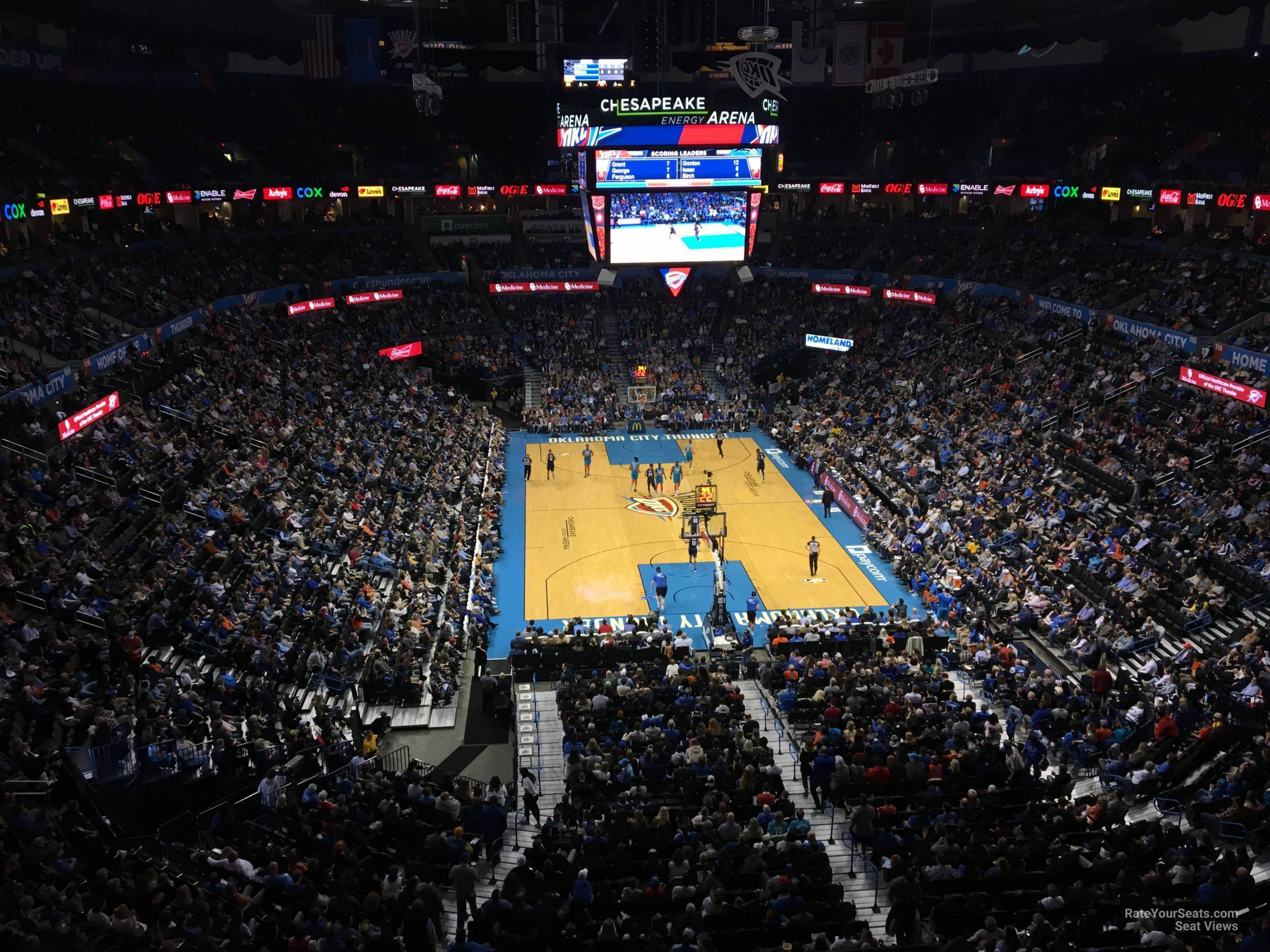 Seat View for Chesapeake Energy Arena Section 302, Row A