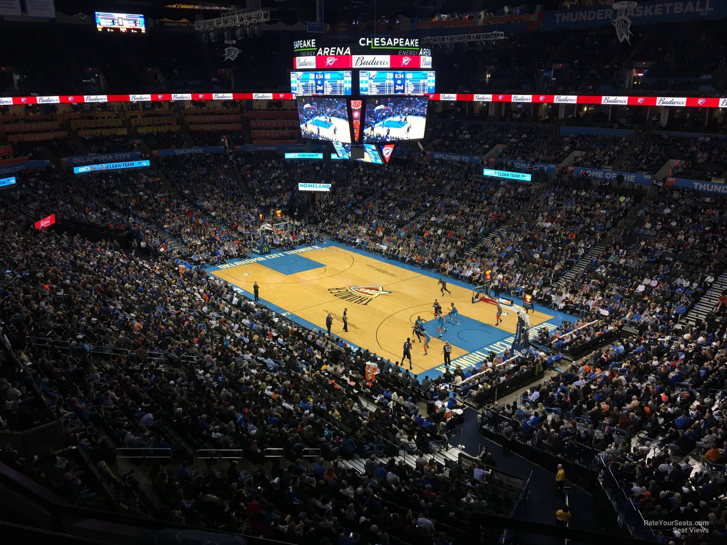 Seat View for Chesapeake Energy Arena Section 320, Row A