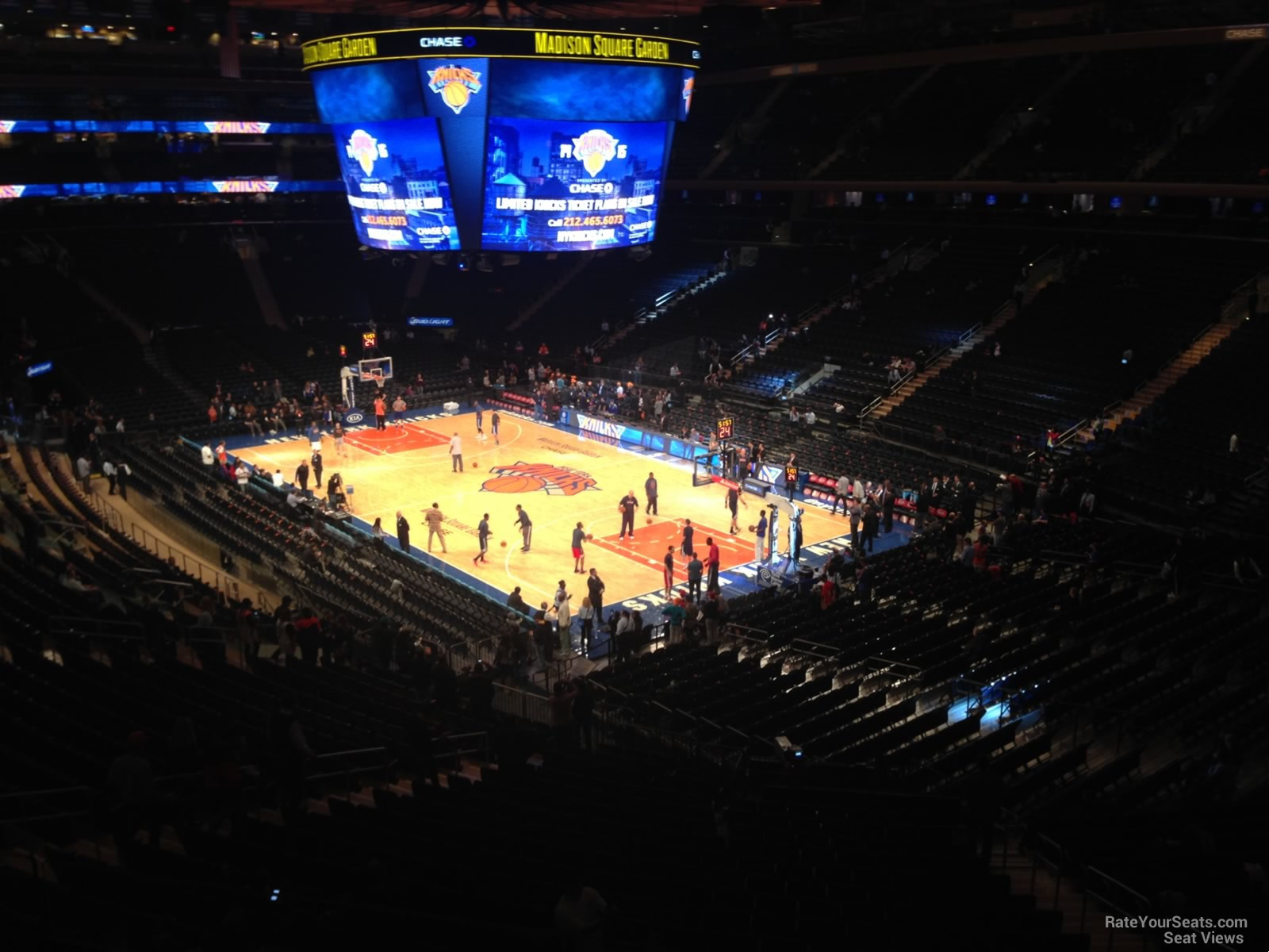 New York Knicks Seat View for Madison Square Garden Section 201, Row 3