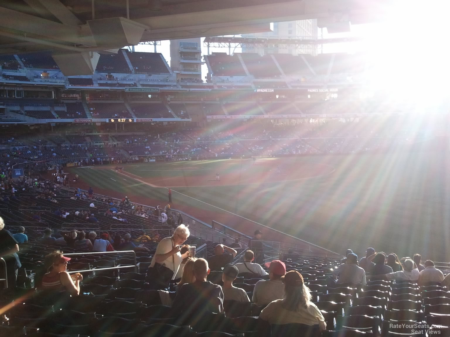 Sun on the first base side at Petco Park