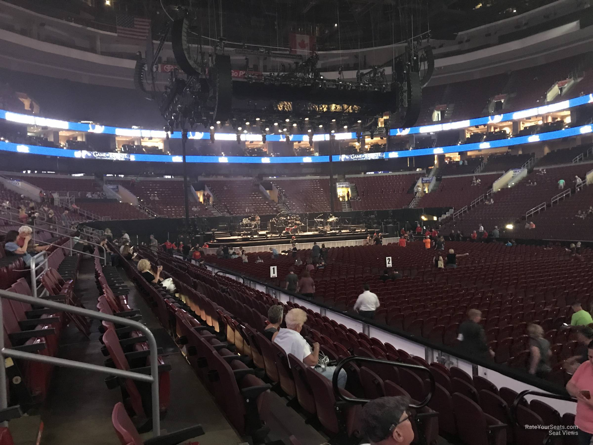 Concert Seat View for Wells Fargo Center Section 103, Row 8