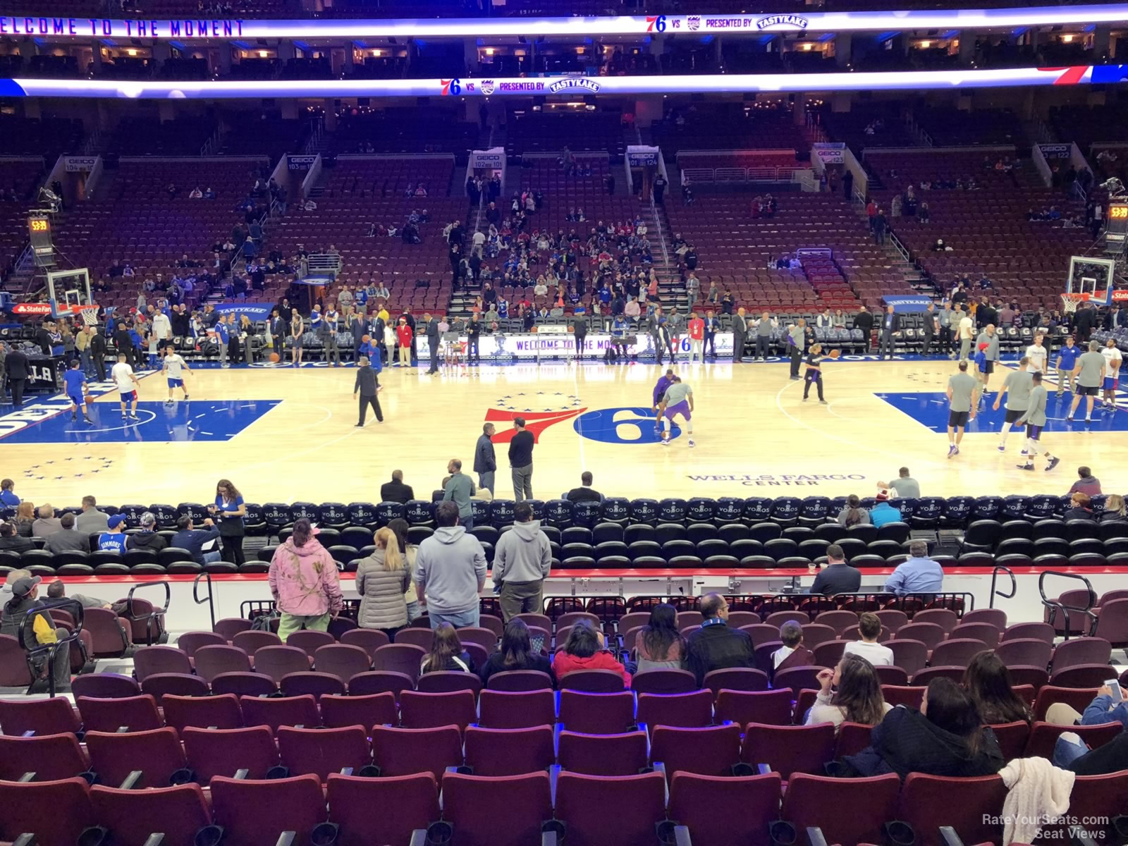 Philadelphia 76ers Seat View for Wells Fargo Center Section 113, Row 14